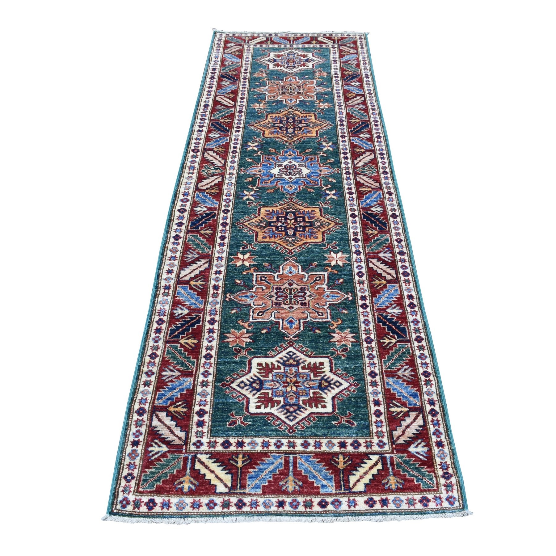 Caucasian Collection Hand Knotted Green Rug No: 1136560
