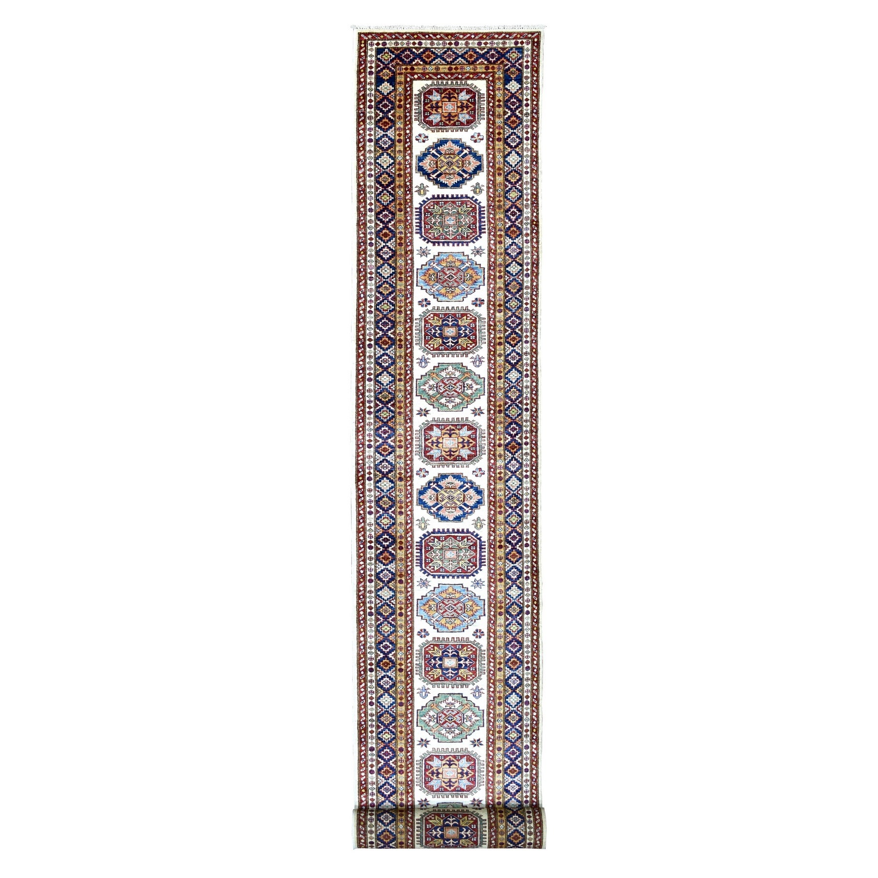 Caucasian Collection Hand Knotted Ivory Rug No: 1136568