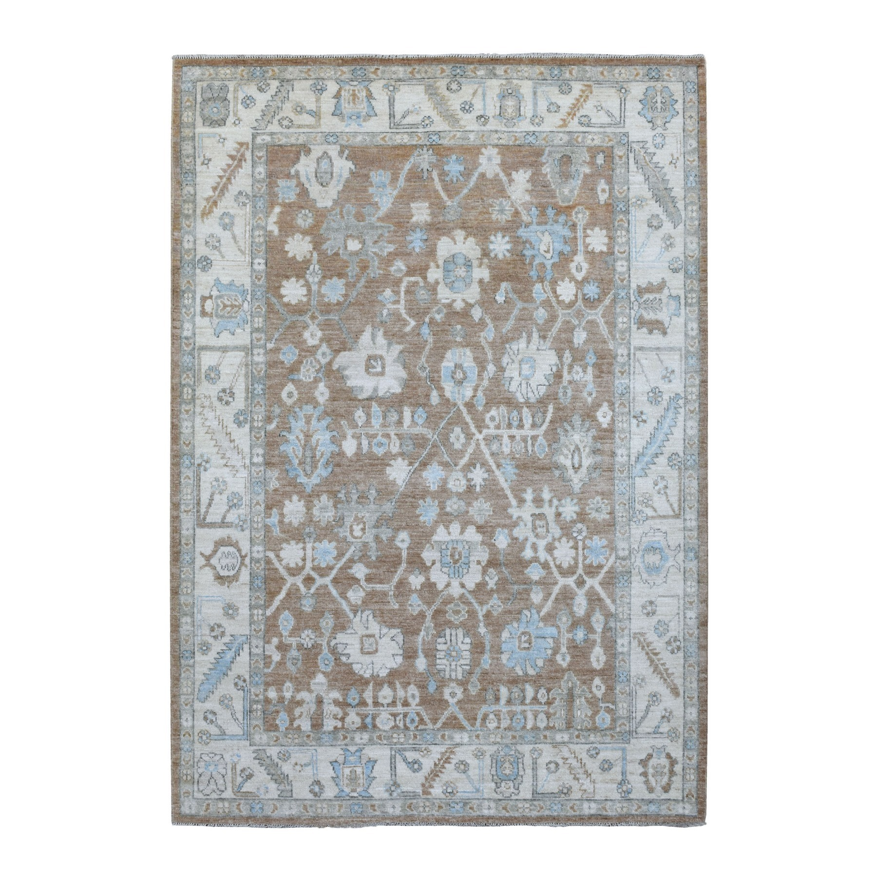 Agra And Turkish Collection Hand Knotted Brown Rug No: 1136586