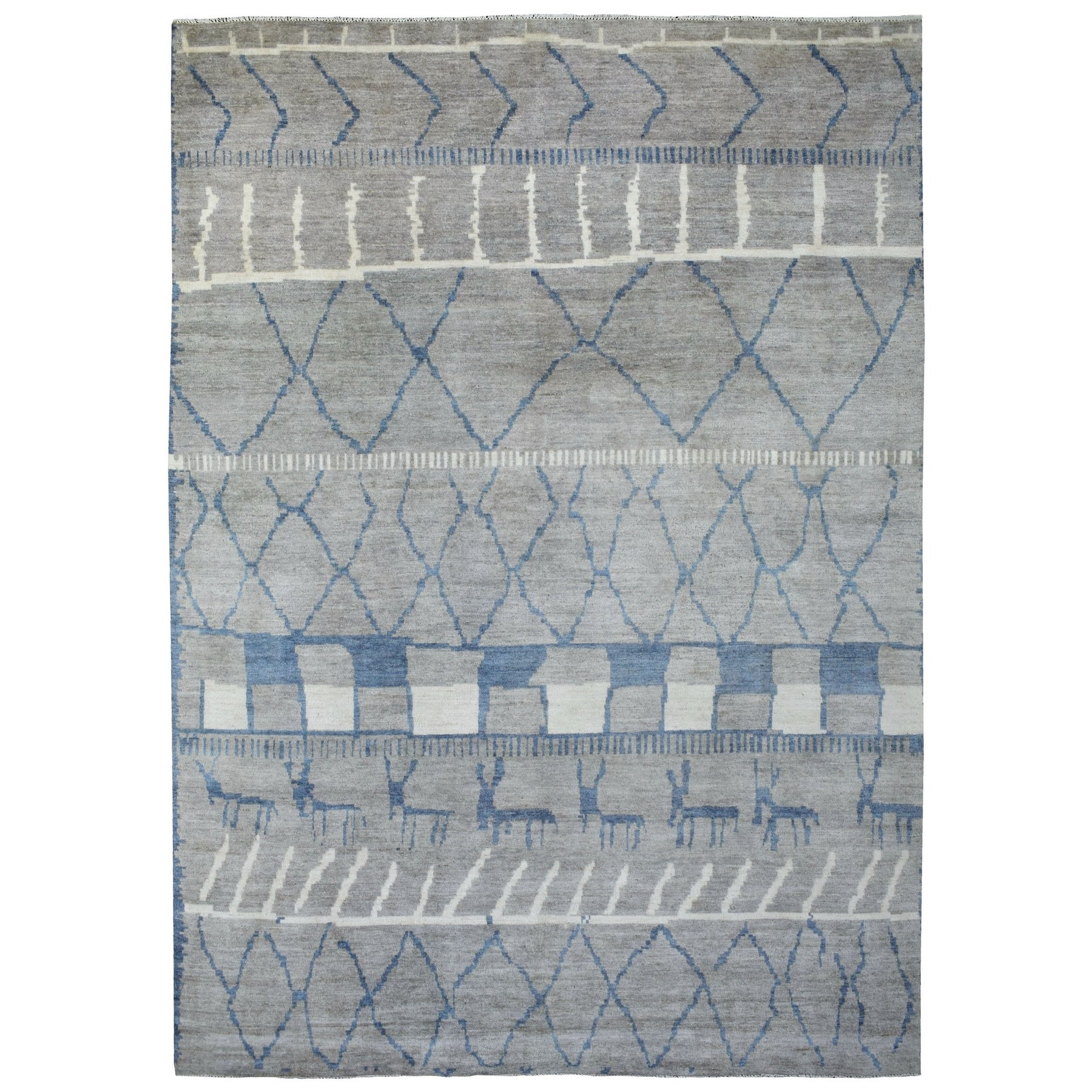 Nomadic And Village Collection Hand Knotted Grey Rug No: 1136596