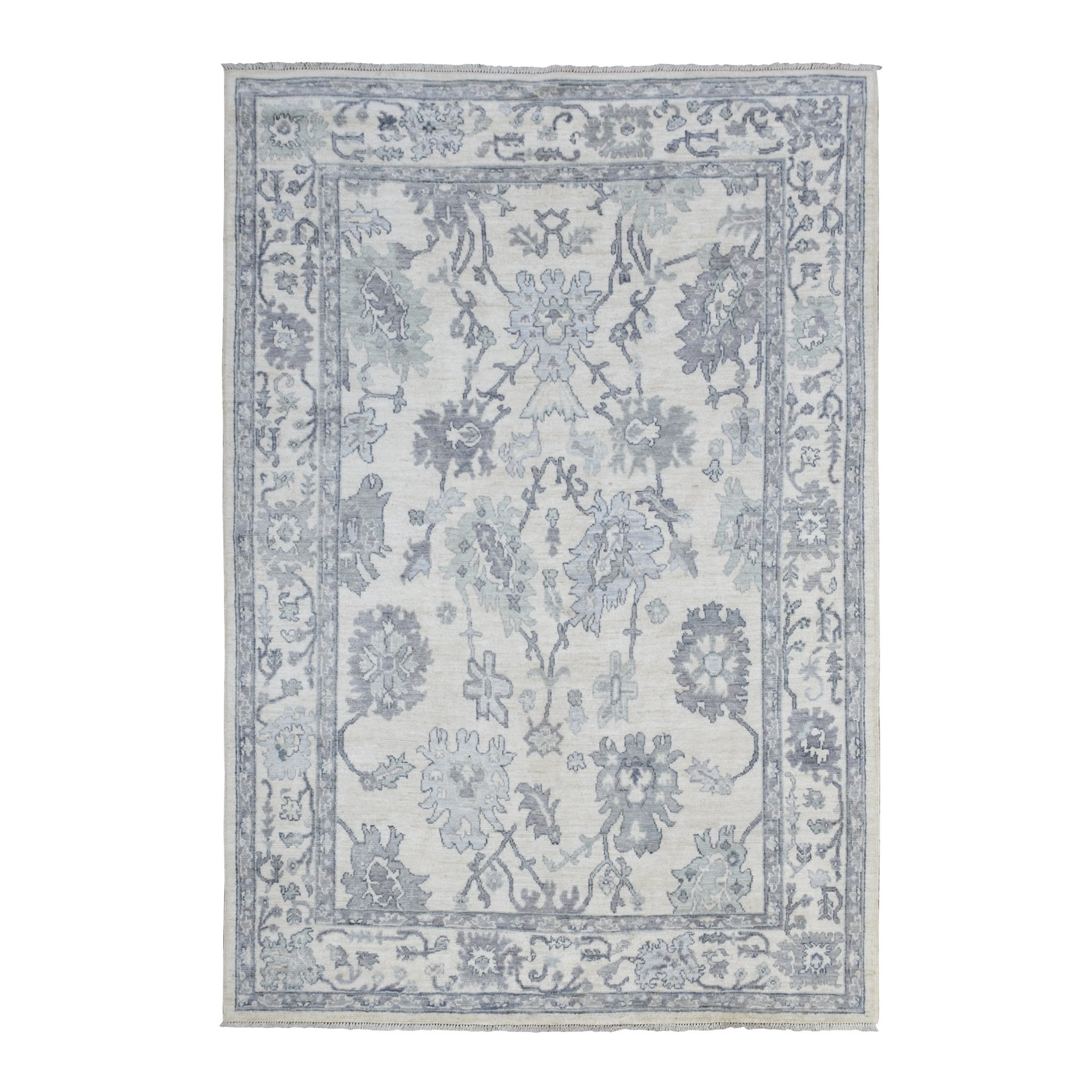 Agra And Turkish Collection Hand Knotted Ivory Rug No: 1136616