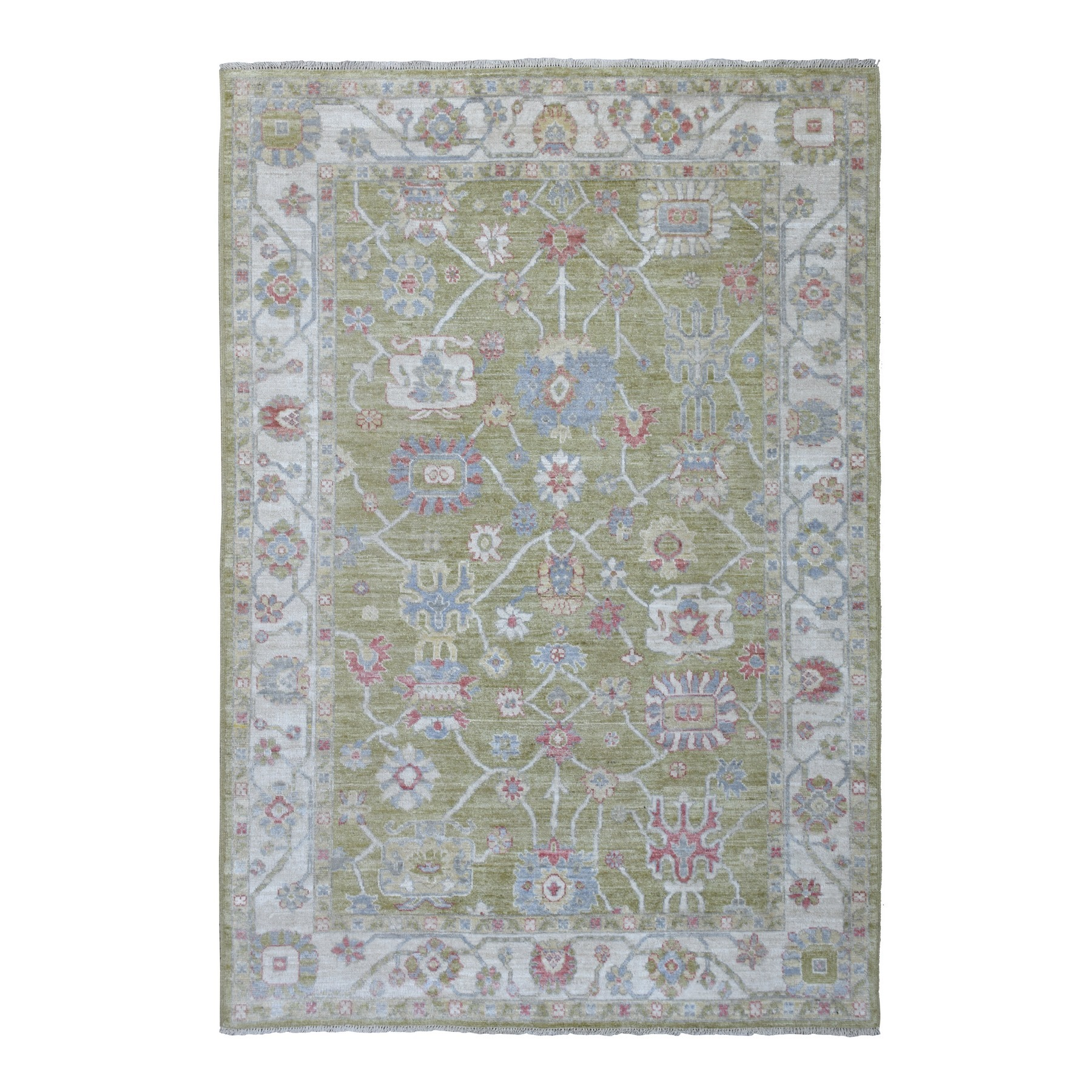 Agra And Turkish Collection Hand Knotted Green Rug No: 1136618