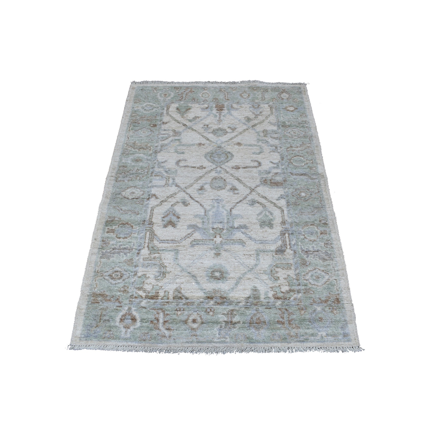 Agra And Turkish Collection Hand Knotted Ivory Rug No: 1136636