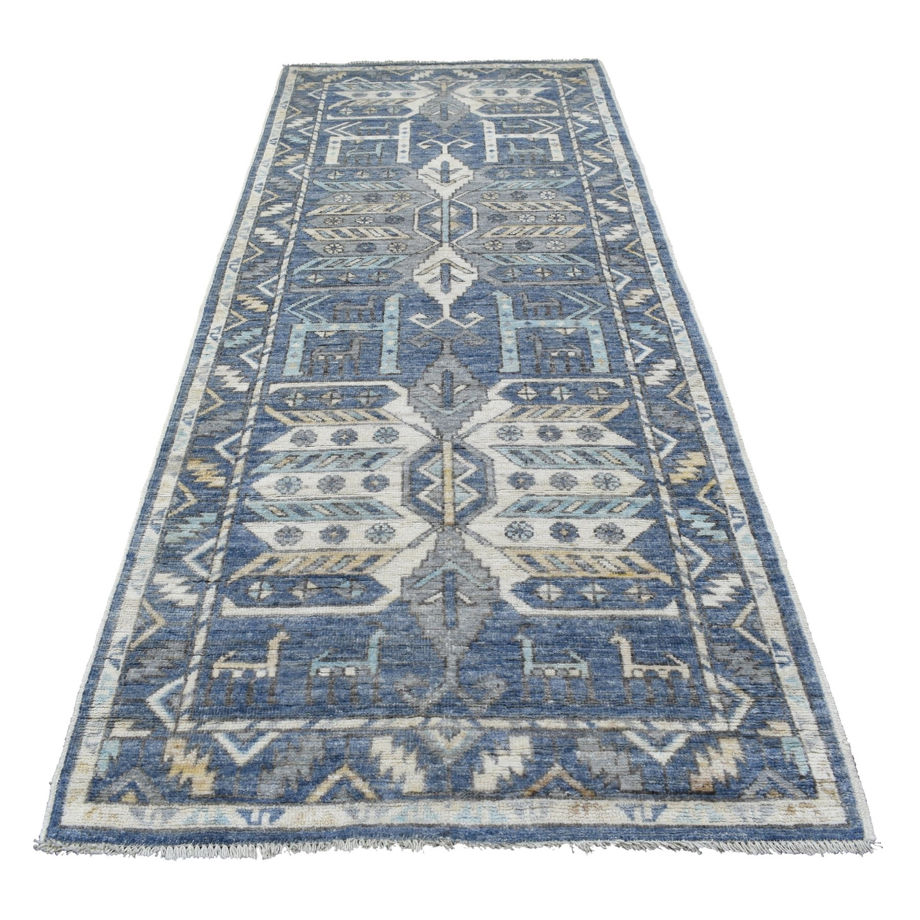 Nomadic And Village Collection Hand Knotted Blue Rug No: 1136666