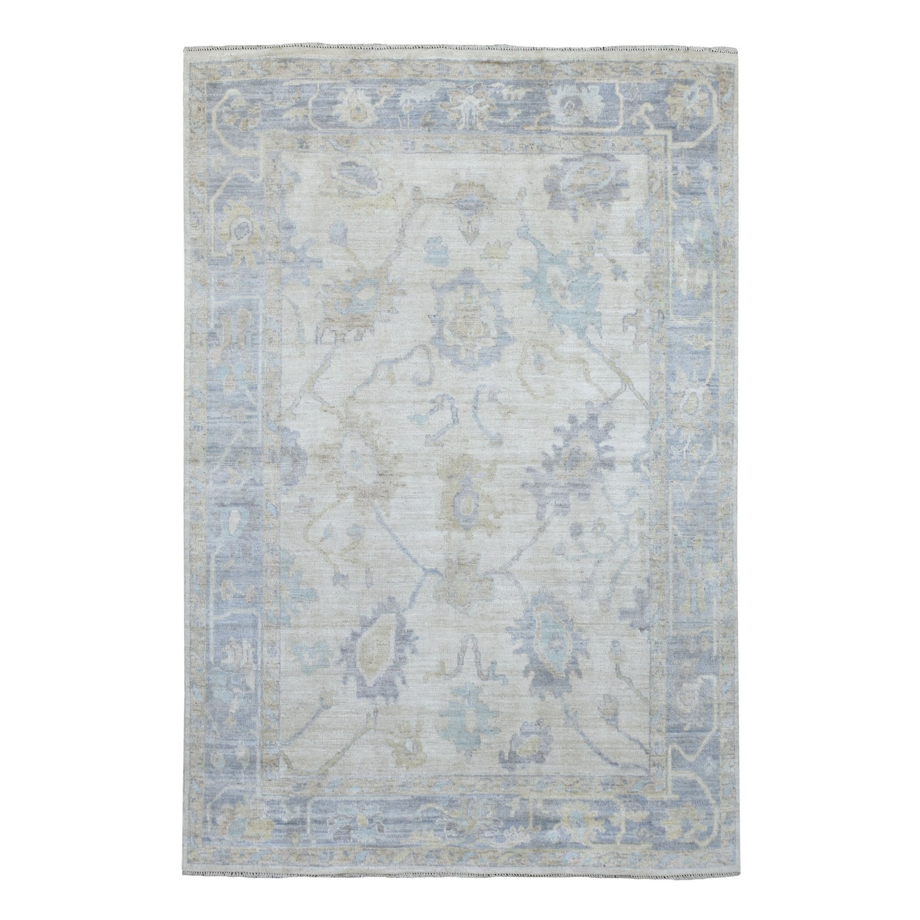 Agra And Turkish Collection Hand Knotted Ivory Rug No: 1136726