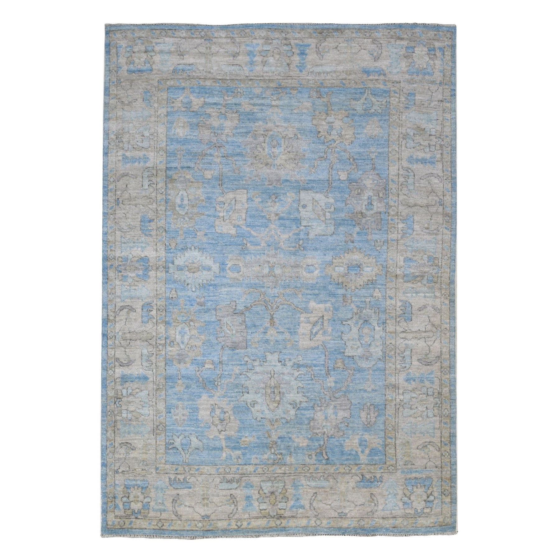 Agra And Turkish Collection Hand Knotted Blue Rug No: 1136728
