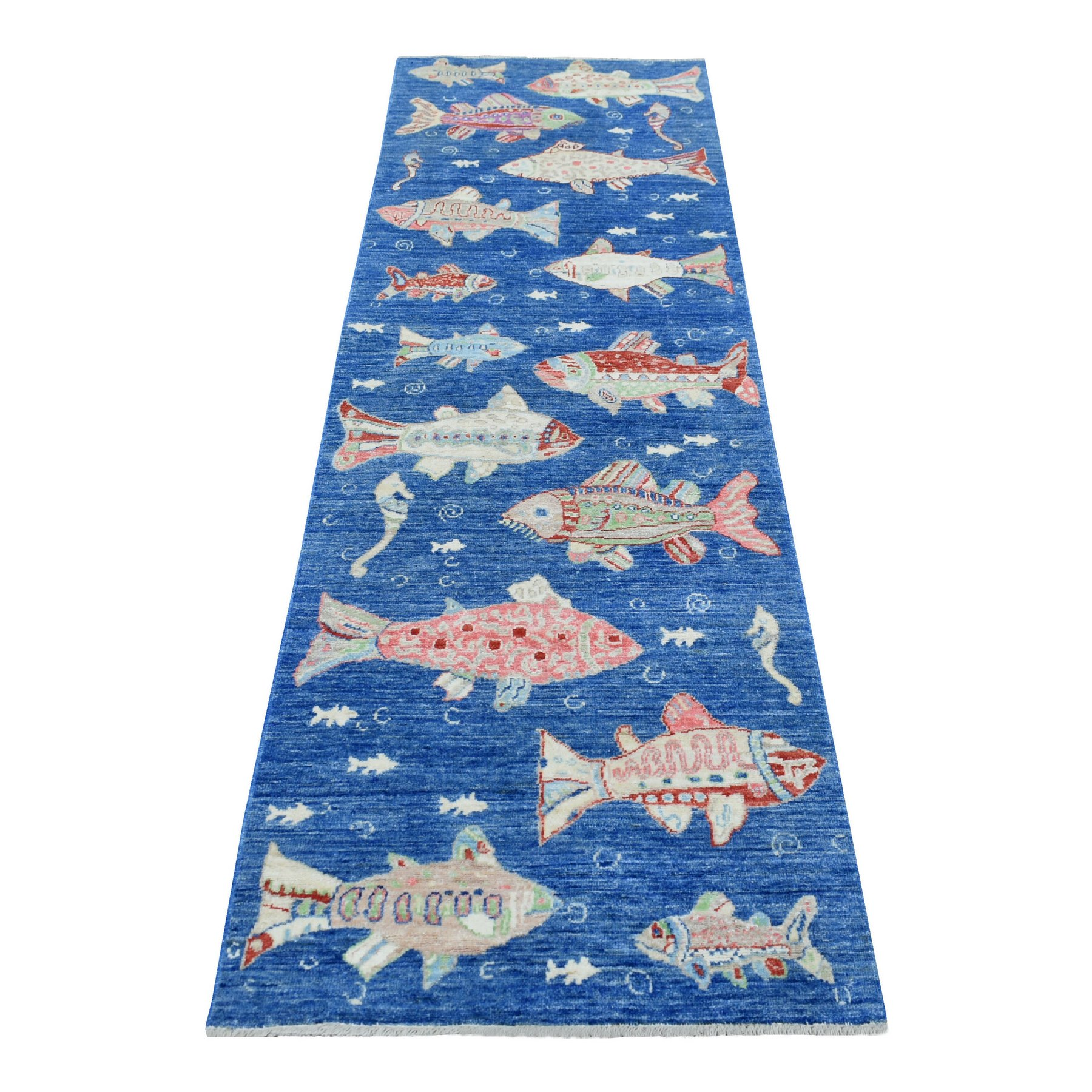 Mid Century Modern Collection Hand Knotted Blue Rug No: 1138938